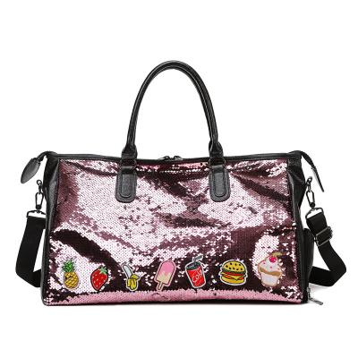 Fashion Girls Pink Duffel Tote Bag New Shoes Comartment Sport Gym Shoulder Bag Factory Wholesale Shiny Sequin Luggage Travel Bag - ORSTAR